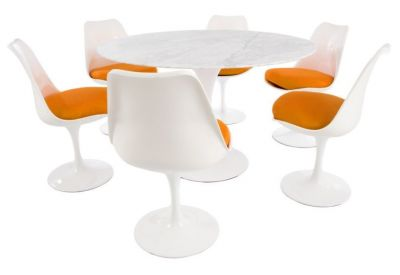 Tulip Six Person Dining Set With Orange Cushions