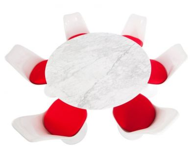 Tullip Six Person Dining Set With Red Seats Taken From Above