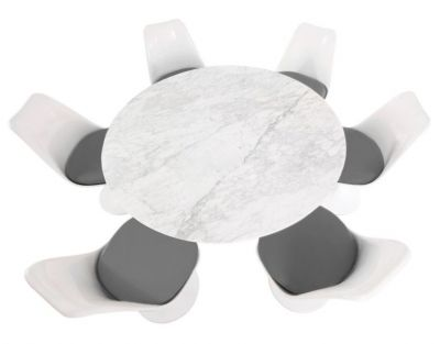 Tulip Six Person Dining Set With Grey Seats And A Marbe Top From Above