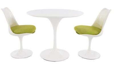Tulip Two Person Dining Set With Green Cushions And A Plain Top