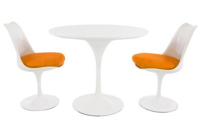 Two Person Tulip Dining Set With A Plain Top With An Orange Seat