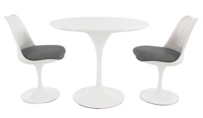Tulipn Two Persion Dining Set With Grey Seats And A Plain Top