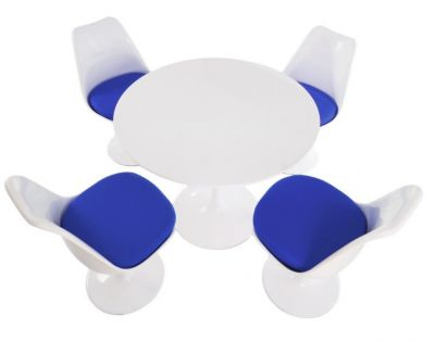 Tulip Four Person Dining Set With Blue Cushions And A Plain Top
