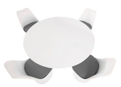 Tulip Four Person Dining Set With A Plain Top And Grey Cushions