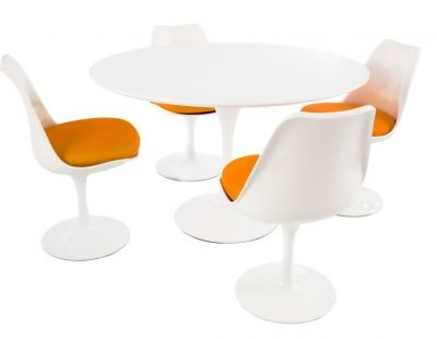 Tullip Four Person Dining Set Woth Orange Seat Cushions And A Plain Top
