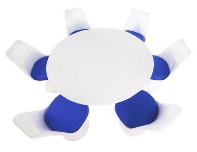 Tulip Six Seater Dining Set With Blue Cushions And A Plain Top Taken From Above