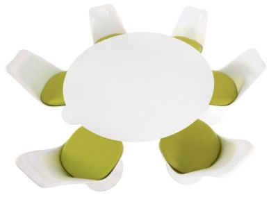 Tulip Six Seater Dining Set With Green Cushions And A Plain Top Taken From Above