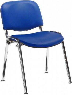 Stakka Chair Blue Vinyl Chrome Frame