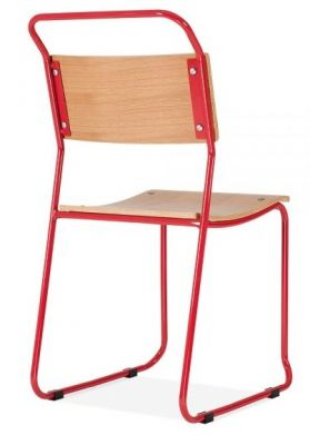 Bauhaus Induatrial Chair Red Frame Rear Angle