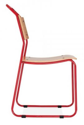 Bauhaus Industrial Chair Red Frame Side View