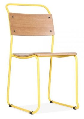 Bauhaus Industrial Chair Yellow Frame Front Angle