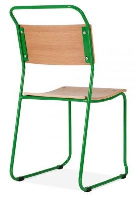 Bauhaus Industrial Side Chair With A Green Frame Rear Angle View