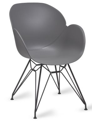 Mylo V8 Pyramid Armchair With A Grey Shell And Black Frame