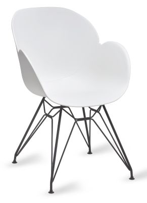 Mylo V8 Pyramid Armchair With A White Shell And Black Frame
