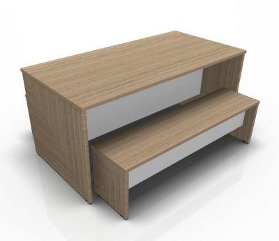 Avalon Prime Oak Bench Set With White Modesty