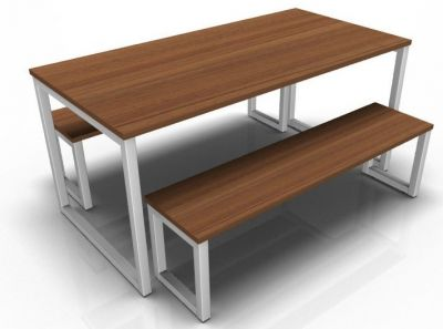 Avalon Loop Dining Set Walnut Tops And Silver Frame