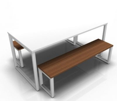 Avalon Bench Set With A White Table Top And Walnut Benches