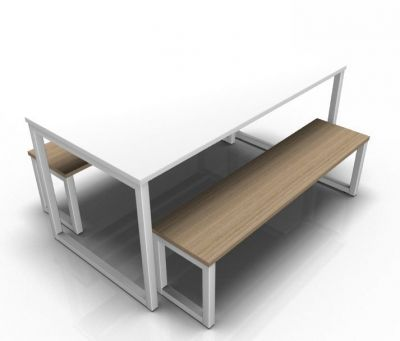Avalon Loop Dining Set With A White Table Top And Oak Bench Top Silver Frame