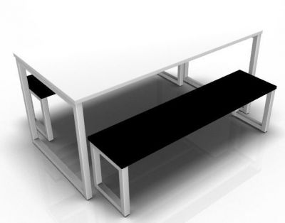 Avalon Loop Table With A White Dining Top And Back Bench Top