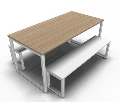 Avalon Loop Dining Set With A Table In Oak And White Benches