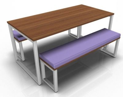 Avalon Hoop Dining Bench Set With Upholsterted Bench In Purple