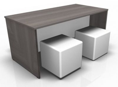 Avalon Dining Bench In Anthracite With Four Jojo Cubes In White