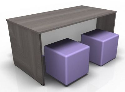 Acvalon Dining Bench In Anhracite With Four Jojo Cubes In Purple