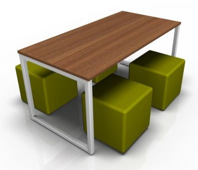 Avalon Loop Dining Set With A Walnut Top And Four Green Cubes