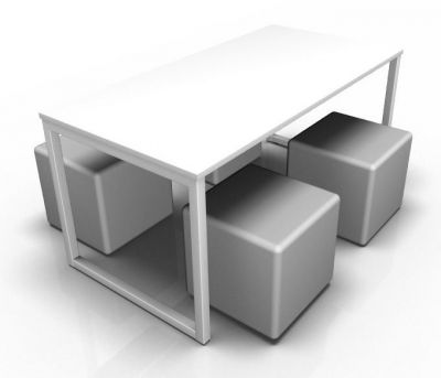 Avalon Loop Dining Set With A White Bench And Four Grey Cubes