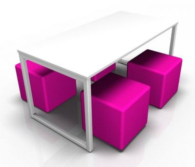 Avalon Loop Dining Table With Four Pink Jojo Cubes