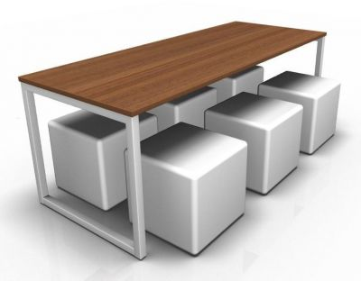 Avalon Dining Bench With A Walnut Top And Six White Jojo Cubes