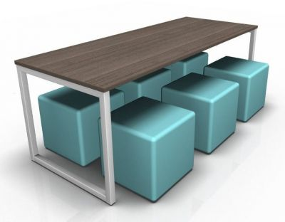 Avalon Dining Bench With An Anthracite Top And Blue Jojo Cubes
