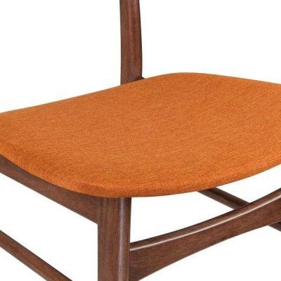 Texas Designer Dining Chair Orange Fabric Seat Detail