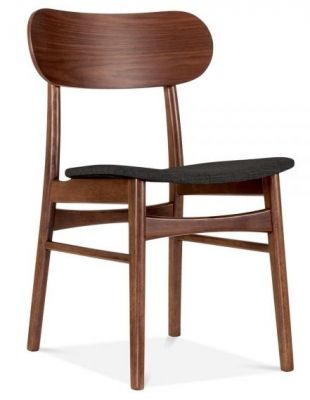 Texas Designer Dining Chair With A Dark Grey Seat Front Angle