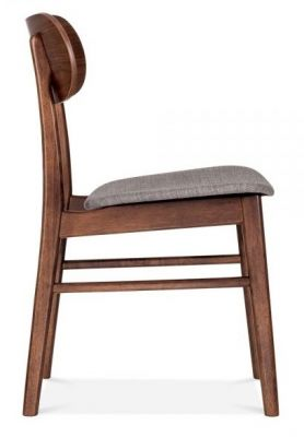Texas Designer Dining Chair With A Cool Grey Fabric Seat Side View