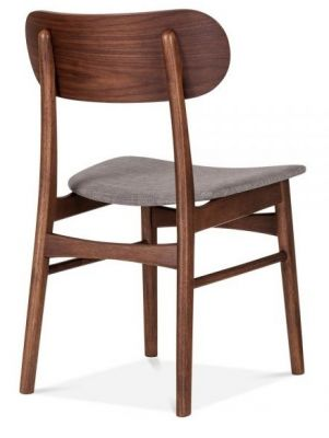 Texas Dining Chair With A Cool Grey Fabric Seat Rear Angle