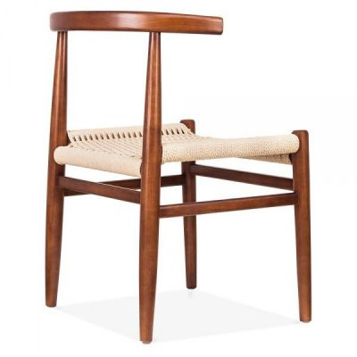 Svenda Designer Dining Chair With A Walnut Frame Rear Angle